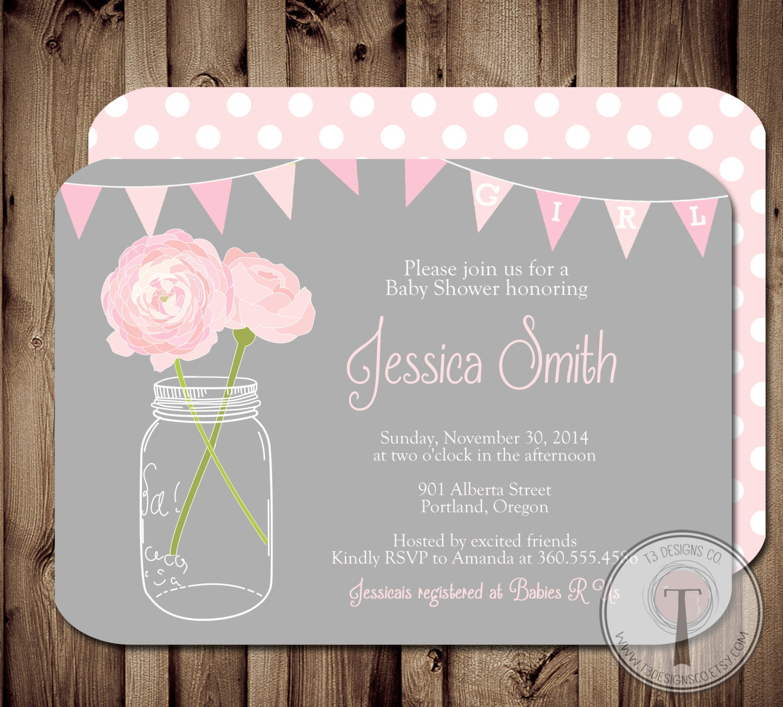 baby girl baby shower invitation, baby shower invite, mason jar, Baby shower