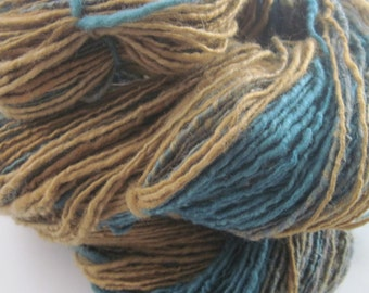 Teal and Gold wool singles yarn