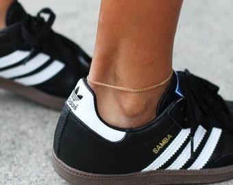 14k Gold Filled Double Chain Anklet, Thin Gold Anklet, Gold Anklet