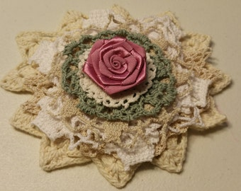 Doily Flower Kit with 2 different rose toppers.