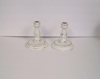 Vintage Wood Candle Holders, Candle Holders, Taper Candle, Shabby Chic Decor, Distressed Candle Holder, Shabby Decor