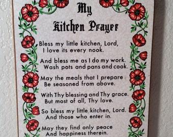 Vintage Kitchen Prayer Wall Plaque