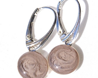 Sterling Silver Lever-Back Cremation Earrings, 10mm - Pet Ashes Jewelry