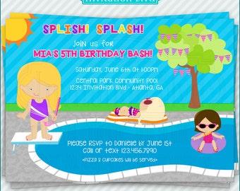 Pool Party Invitation - Girl Swim Party Invitation - Girls Pool Party - Swimming Birthday Invitation - Printable Pool Party Invitation