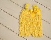 Yellow romper - Yellow Lace Petti Romper - Baby Girl Clothes -Newborn-Infant-Toddler-Dress- Birthday Cake Smash outfit- Romper