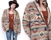 90's TRIBAL Southwestern Aztec Ethnic Indian Shawl Collar Oversized Woven Cotton Blanket Jacket Vintage Coat M