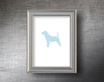 Beagle Print 5x7 - UNFRAMED Die Cut Beagle Silhouette - 4 Color Choices - Personalized Text Optional