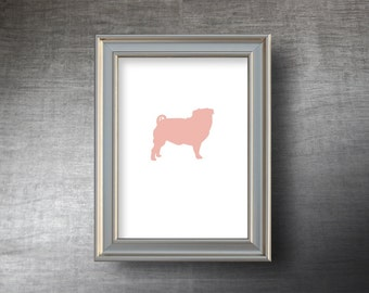 Pug Print 5x7 - UNFRAMED Hand Cut Pug Silhouette - 4 Color Choices - Personalized Name or Text Optional