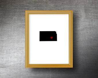 Kansas Wall Art 8x10 - UNFRAMED Die Cut Silhouette - Kansas Print - Kansas Wedding - Personalized Text Optional
