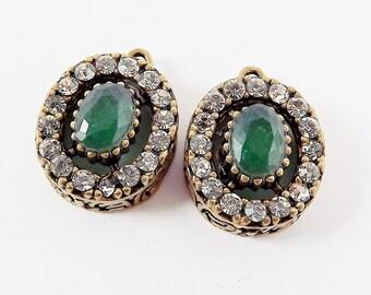 Oval Green Clear Rhinestone Crystal Small Pendants - Antique Bronze - 2PC - No:4 - Turkish Jewelry