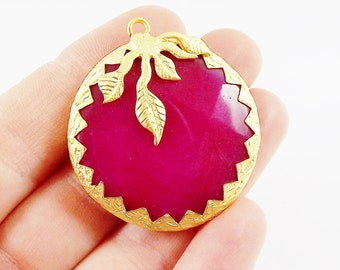36mm Violet Pink Jade Faceted Stone Pendant with Leaf Detail - 22k Matte Gold Plated 1pc