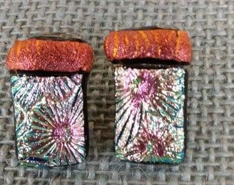 Dichroic starburst earrings, handmade , fused glass