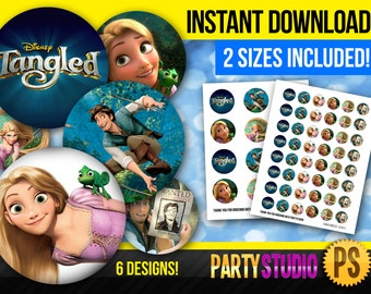 """INSTANT DOWNLOAD - Tangled - 1"""" Bottlecap and 2"""" Cupcake Topper - Printable tag (both sizes included) 6 designs, 300dpi!"""
