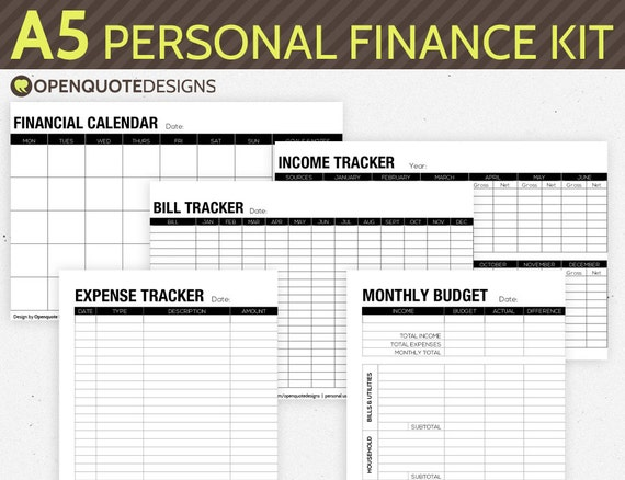a5 filofax finance printable personal finance by
