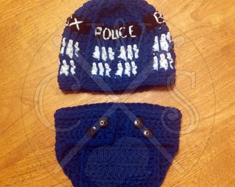 Doctor Who themed Tardis Hat and Diaper Cover Set with pom pom top!