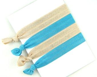 Hair Elastic Ribbons -- Natural Beige and Stormy Ocean Blue