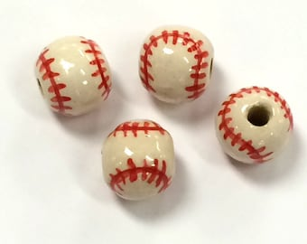20pc 13mm Ceramic Baseball Sports Beads with Red stitches - Hand Painted DS232