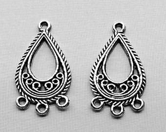 4 Silver Arrow Chandelier Earring Parts Charms Triangle Components ...