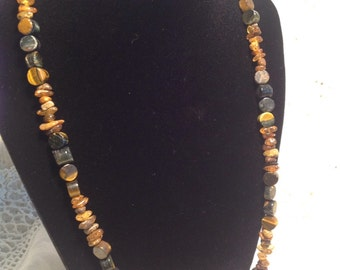 Tiger Eye and Honey Amber Single Strand Necklace