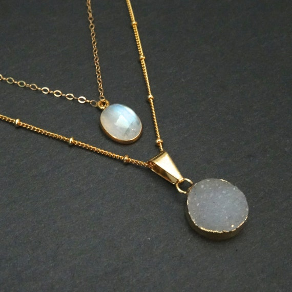 Druzy & Moonstone Layered Necklace