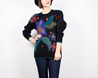 Vintage 80s Sweater Cosby Sweater Bright Rainbow Black New Wave Sweater Jumper Pullover Fuzzy Textured Mohair Sweater Mod S Small M Medium