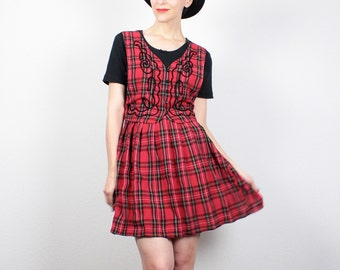 Vintage 90s Dress Soft Grunge Dress Red Black Plaid Babydoll Dress Mini Dress 1990s Dress Schoolgirl Vest Lolita Dress M Medium L Large