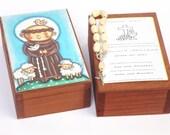 St Francis of Assisi wood box Saint Francis of Assisi Baptism keepsake box First birthday boy gift St Francis Prayer card Christening gifts