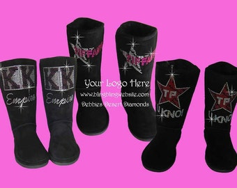Custom bling boots with your logo on our boots with top quality stones and boots