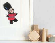 London Guard, The Queen's Guard, Kid's British Art, London Theme Nursery, Children's Bedroom, Picture, Print, Iconic Illustration