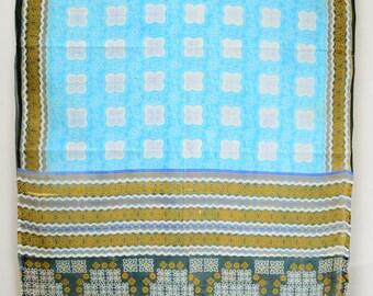 Printed Blue Fabric Vintage Indian Textile Drapery Crafting Saree Sari  TP2512