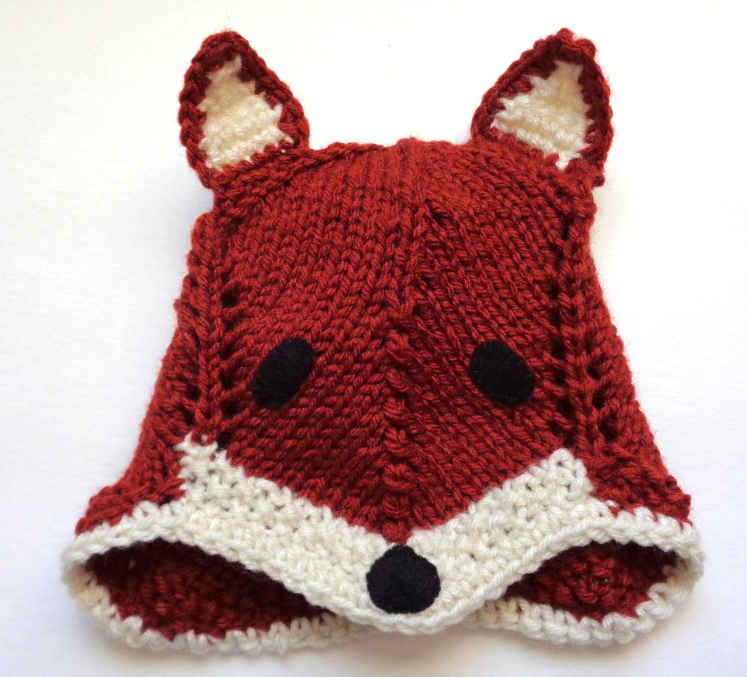 Knitting Pattern For Fox Hat : Knit Fox Hat Hand Made Baby Cap Red Fox Hat Unisex Baby