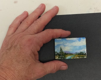 miniature painting miniature art acrylic original meadow brook wood panel artbyevelynmarie 1 1/2 x 2 1/4