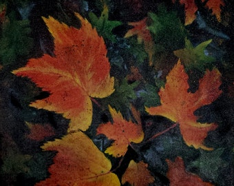 Fall leaves maple foliage original wall art on 16 x 20 canvas one of a kind hand painted stretch canvas art by Evelyn Marie