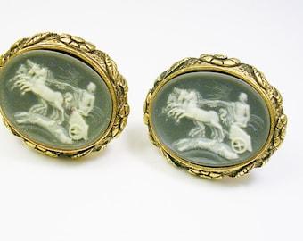 Vintage Cufflinks, DANTE / Cameo Incolay Stone / Helios, Greek Mythology, Museum Masterpiece, Formal Wear, Men Wedding Jewelry, Cuff Links
