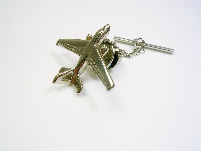 vintage tie tack tie pin silver color airplane usaf