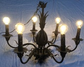 Black Antique Wrought Iron 6-Arm Chandelier with Gorgeous Patina and Original Black Drip Candle Covers