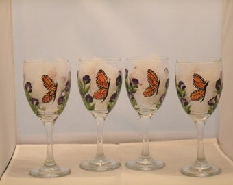 MONARCH BUTTERFLY wine glasses, set of four