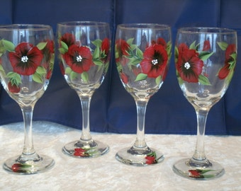 POPPY WINE GLASSES, set of four