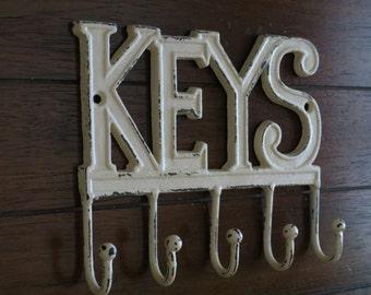 K E Y S Key Rack /Metal wall hook/ Key Hanger/ Shabby Chic/ Ivory Color/Key Sign/Vintage Style