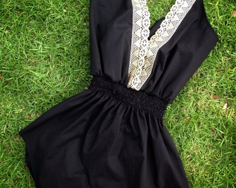 Camille    V-neck Gold Trim (Back) Spaghetti Strap Swimsuit Cover-up    Cotton