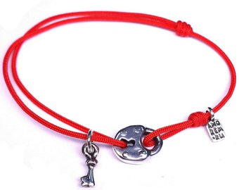 "Sterling silver inspirational bracelet ""Key to the Lock"", adjustable cord bracelet"
