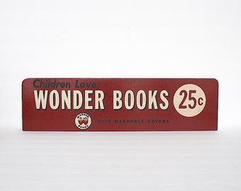 Vintage Sign - Advertising Sign - Bookstore Sign - Old Store Sign - Wonder Books- Book Lover Gift- Childrens Room Decor -Library Decor -Prop