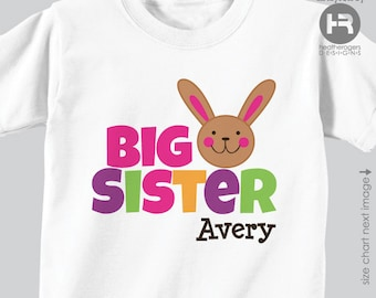 personalized easter big sister shirt or bodysuit - girls easter bunny personalized - Personalized Easter Outfit