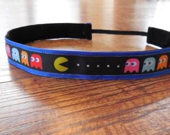 PacMan headband. Pac Man headband, non slip headband, running headband, sports headband, comic book, Pacman hair accessory, women's headband
