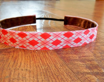 Red and pink argyle non-slip headband. Pink, red, argyle, headband, Girls, womens, hair, workout, running, accessory, gift, non-slip