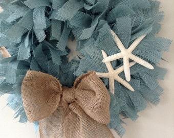 Coastal Living, Beach Cottage Wreath, Christmas Wreath, Blue Burlap Wreath, Beach Wreath,Beach Wreath, Burlap Beach Wreath, Starfish Wreath