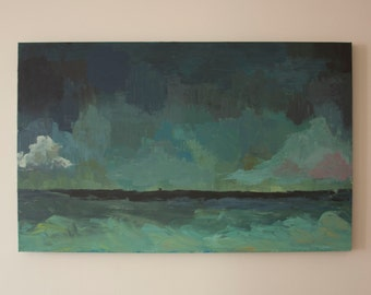 Sea at Dusk: Original Painting on Stretched Canvas
