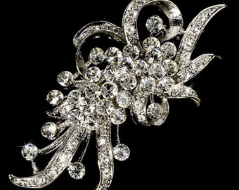 Silver Clear Vintage Crystal Hair Pin or Brooch for Bride Wedding