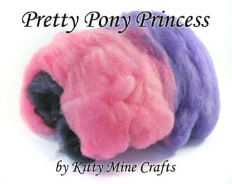 Pretty Pony Princess Art Batt - Spinning, Felting - 3oz each - Hand Processed Montadale Wool and Angelina - Sparkle Wool