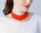 40%OFF Red Necklace Venise Lace Necklace Lace Jewelry Bib Necklace Statement Necklace Body Jewelry Gift/ ORA